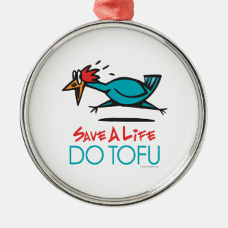 Funny Vegetarian Tofu Metal Ornament