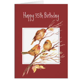 Funny Verse 95th Birthday Cute Song Sparrows, Bird Greeting Card
