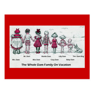 Funny Victorian Family Beach Vacation Postcard