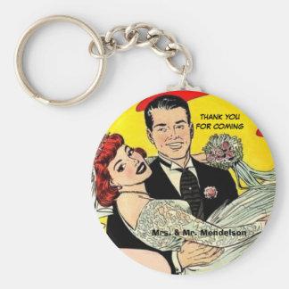 Funny vinatge wedding favors basic round button key ring
