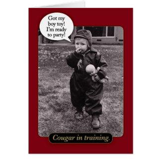 Funny Vintage 1950s Cougar Birthday Card