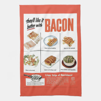 """Funny Vintage """"Better With Bacon"""" Advertisement Tea Towel"""