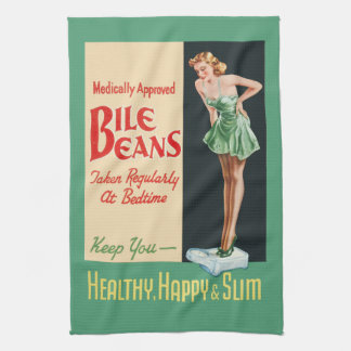 "Funny Vintage ""Bile Beans"" Advertisement Tea Towel"