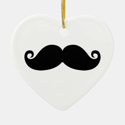 Funny Vintage Black Mustache Christmas Ornament