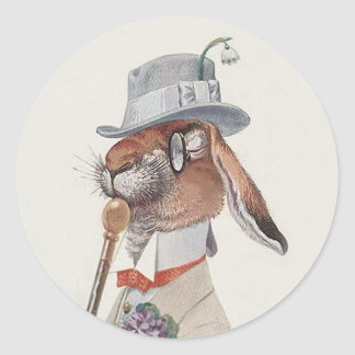 Funny Vintage Bunny Rabbit - Easter Gift Classic Round Sticker