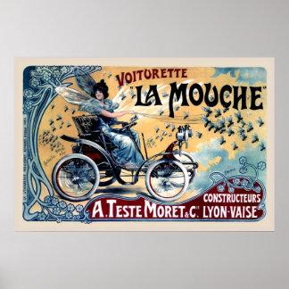Funny Vintage Car Poster Copy Voiturette La Mouche