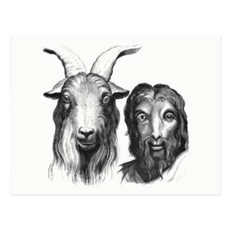 Funny Vintage Cartoon Man Goat Likeness Friendship Postcard