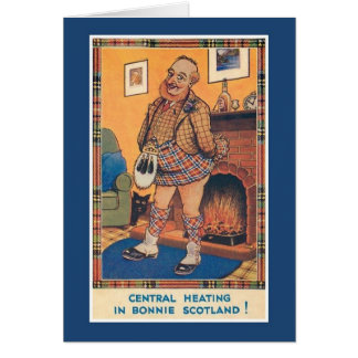 Funny vintage central heating in Bonnie Scotland Card