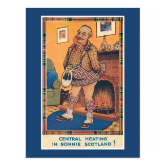 Funny vintage central heating in Bonnie Scotland Postcard