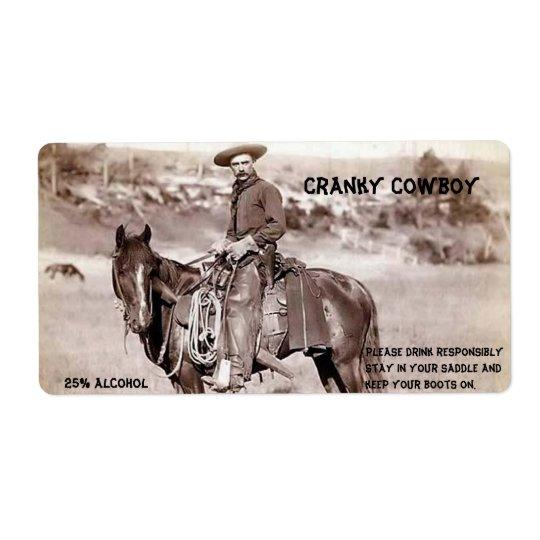 Funny, Vintage, Cowboy, Custom Wine Label Shipping Label