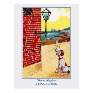 Funny vintage dog and street light postcard