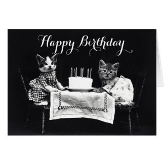 Funny vintage dressed up kitten cat birthday greeting card