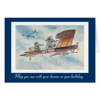 Funny Vintage Flying Elephants Birthday Note Card