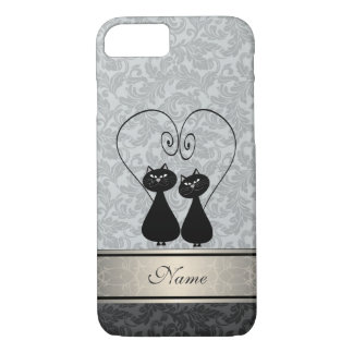 Funny vintage girly  trendy damask cats personal iPhone 8/7 case