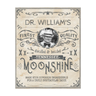Funny Vintage Moonshine Hillbilly Medicine Custom Canvas Print