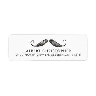Funny Vintage Mustache Return Address Label