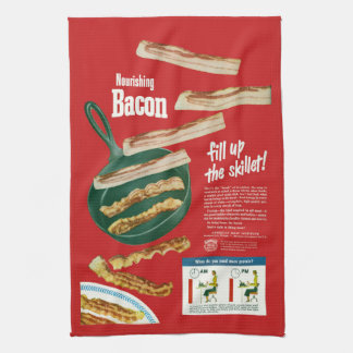 "Funny Vintage ""Nourishing Bacon"" Advertisement Tea Towel"