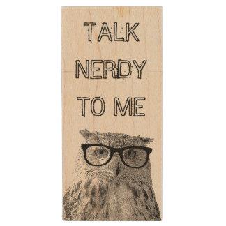 Funny vintage owl USB pen flash drive | talk nerdy Wood USB 2.0 Flash Drive