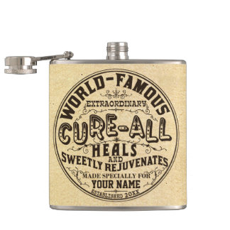 Funny Vintage Personalized Cure All Gag Gift Hip Flask