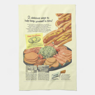 "Funny Vintage ""Platter Full of Protein"" Advert Tea Towel"
