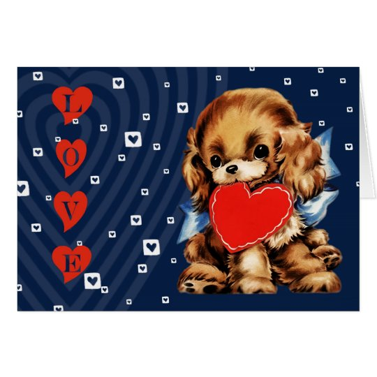 Funny Vintage Puppy Valentine's Day Greeting Cards
