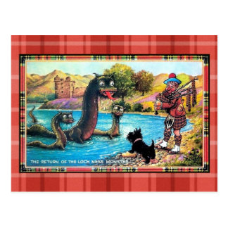 Funny vintage return of the Loch Ness Monster Postcard