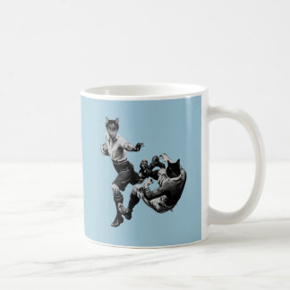 funny vintage rugby playing cats mug