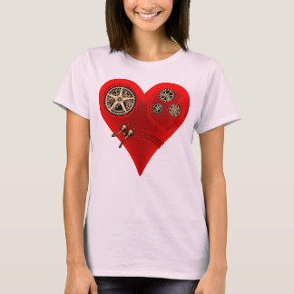 Funny Vintage Steampunk Clockwork Red Heart T-Shirt