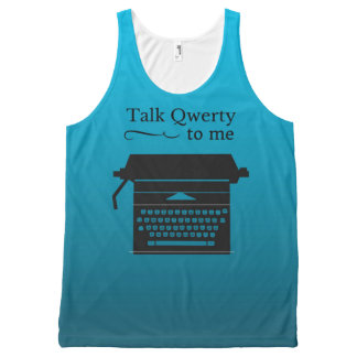 Funny Vintage Typewriter Geek All-Over Print Singlet