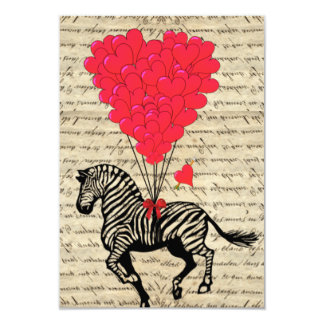 Funny vintage zebra & heart balloons personalized announcement