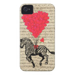 Funny vintage zebra & heart balloons iPhone 4 case