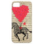 Funny vintage zebra & heart balloons iPhone 5 cover