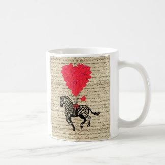 Funny vintage zebra & heart balloons mug