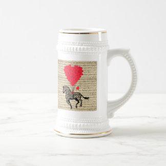 Funny vintage zebra & heart balloons mugs