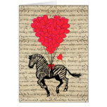 Funny vintage zebra & heart balloons note card
