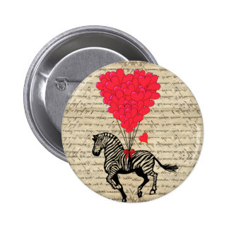 Funny vintage zebra & heart balloons pin