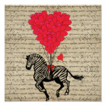 Funny vintage zebra & heart balloons poster