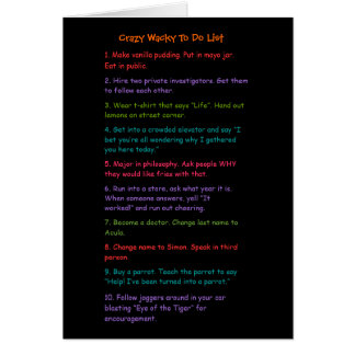 Funny Wacky To Do List Custom Card to Send a Smile