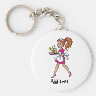 Funny waiter waitress cartoon personalized key ring