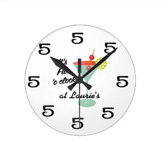 Funny Wall Clock - Martini 5 Five o'clock w/ name
