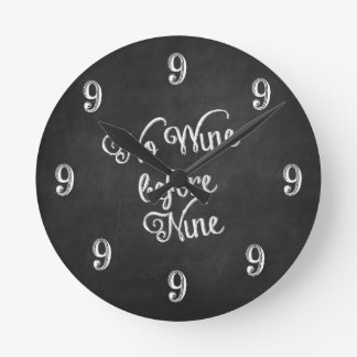 Funny Wall Clock - No Wine before Nine Chalkboard