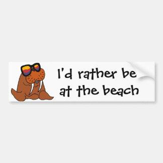 Funny Walrus Wearing Sunglasses Bumper Sticker