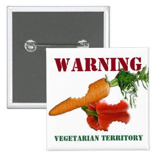 Funny Warning Message, Vegetarian Territory 15 Cm Square Badge