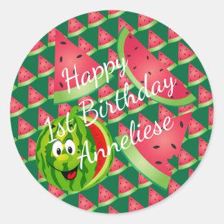 Funny Watermelon Classic Round Sticker