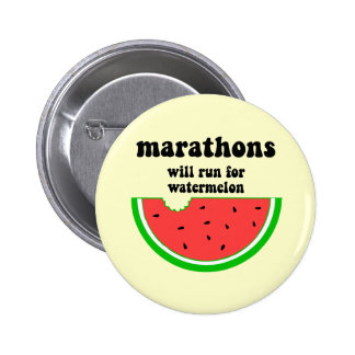 Funny watermelon marathon 6 cm round badge