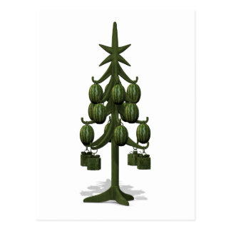 Funny Watermelons Christmas Tree Postcard