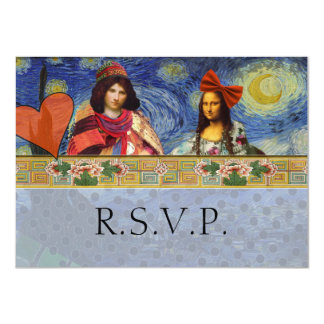 Funny Wedding RSVP Baroque Ornate Figurative Card