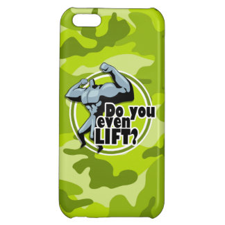 Funny Weight Lifter; bright green camo, camouflage iPhone 5C Cases