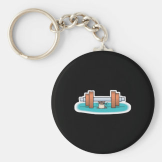 funny weightlifting mouse basic round button key ring