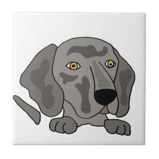 Funny Weimaraner Dog Art Small Square Tile